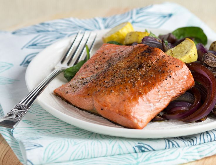 Pan-Seared Salmon with Balsamic Roasted Vegetables