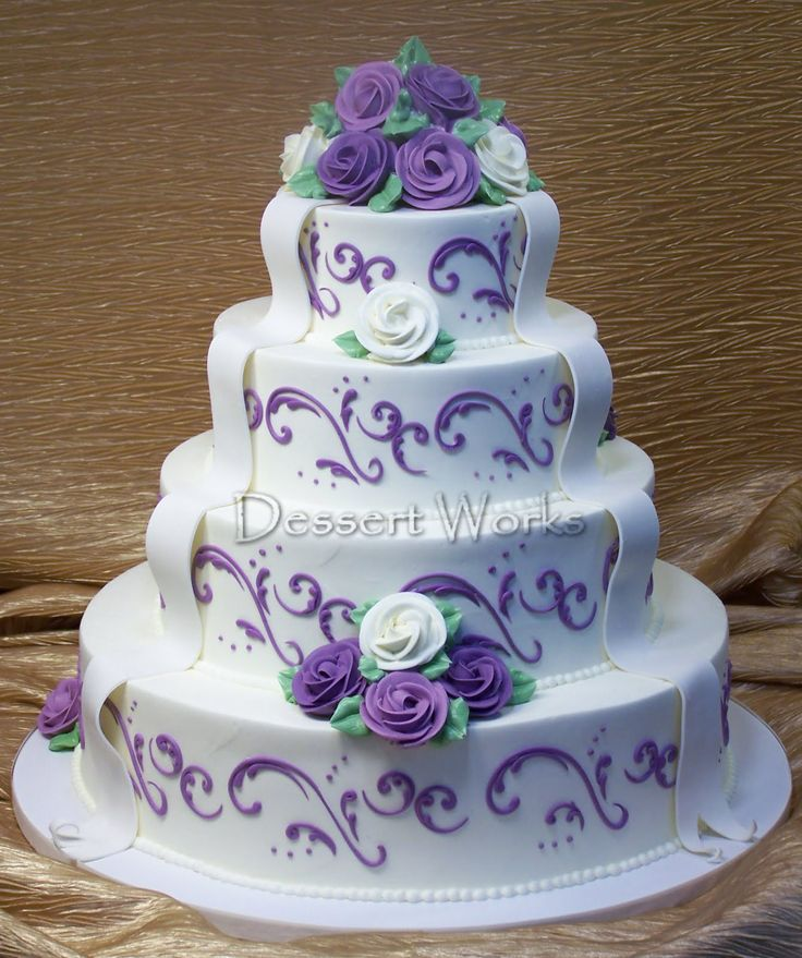 Wedding Cakes with Purple Flowers | This cake featured our wallace scroll design in lavender, lavender and ...