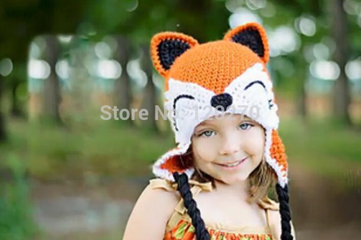 Купить товарКрючком вязаные лиса шляпа новорожденный малыш крышки мальчики…
