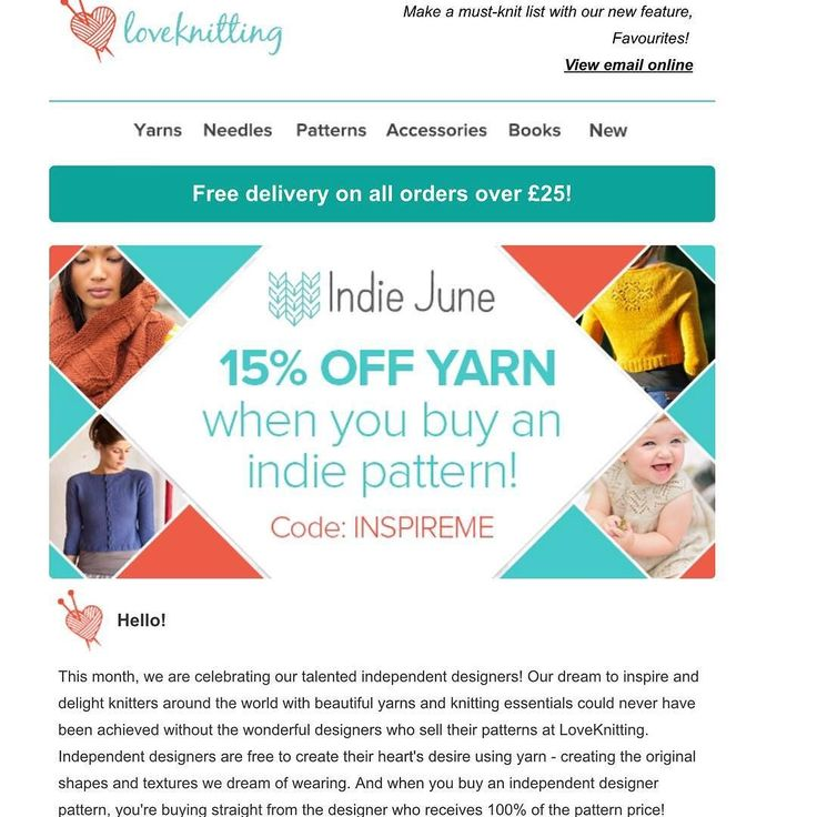 June is independent designer month at Loveknitting.com and to celebrate they are giving 15% off yarn when you buy an independent designer's pattern. You can see all my patterns here: http://ift.tt/1UufDLA Go on treat yourself. You know you deserve it!!