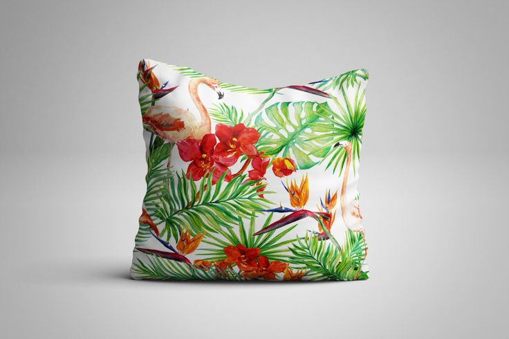Tropical Flamingos Cushion. 12 x 12 inch Cushion by NJsBoutiqueCo on Etsy