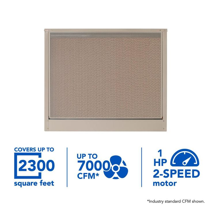 7000 CFM 120-Volt 2-Speed Down-Draft Roof 8 in. Media Evaporative Cooler for 2300 sq. ft. (with Motor), Cool Sand