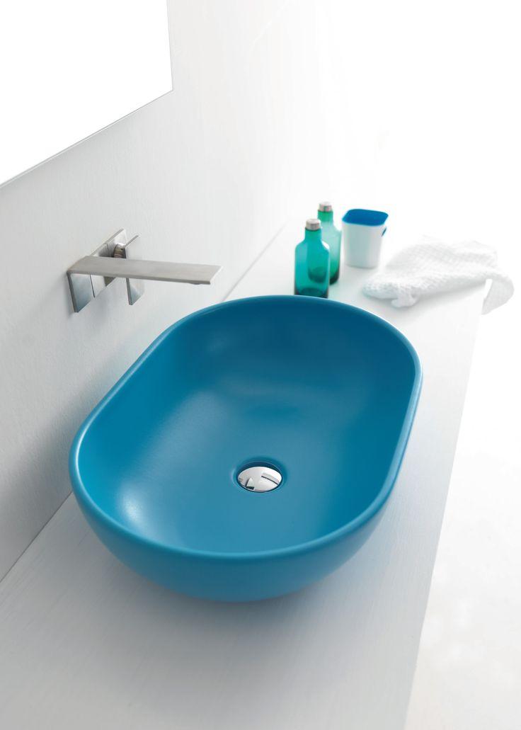 Lavabo ovale da appoggio in ceramica colorata Joker Bowl Alice Ceramica. [www.viadurini.it]