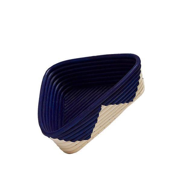 medium triangular rattan basket with blue inside and zig zag design on outside