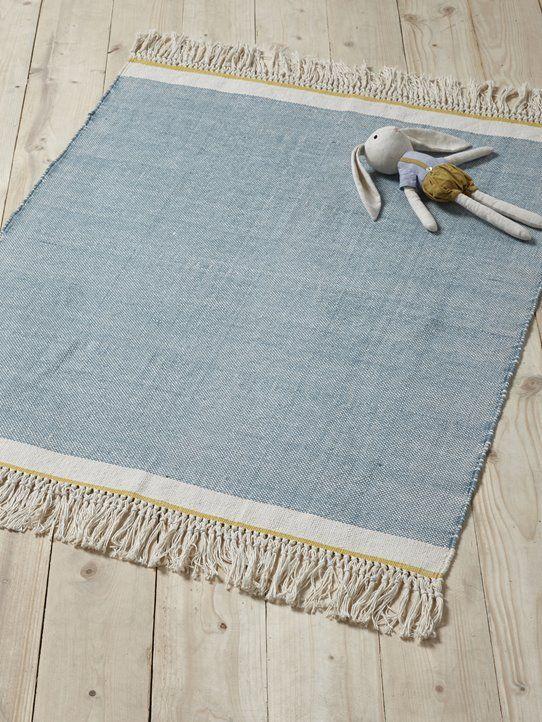 Teppich Mit Fransen Baumwolle Blau Rosa Kinderzimmer Nursery