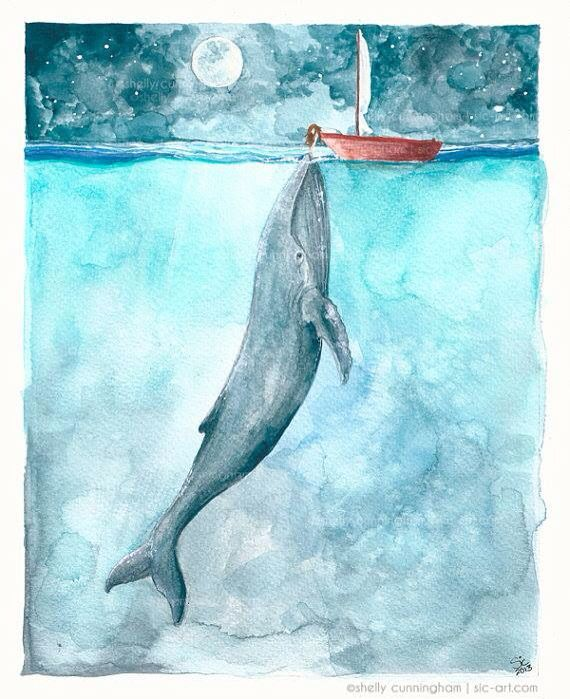 Watercolor art Whale & girl in a sailboat