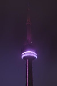 Toronto's CN Tower in the fog