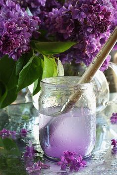 Lilacs and paint brush