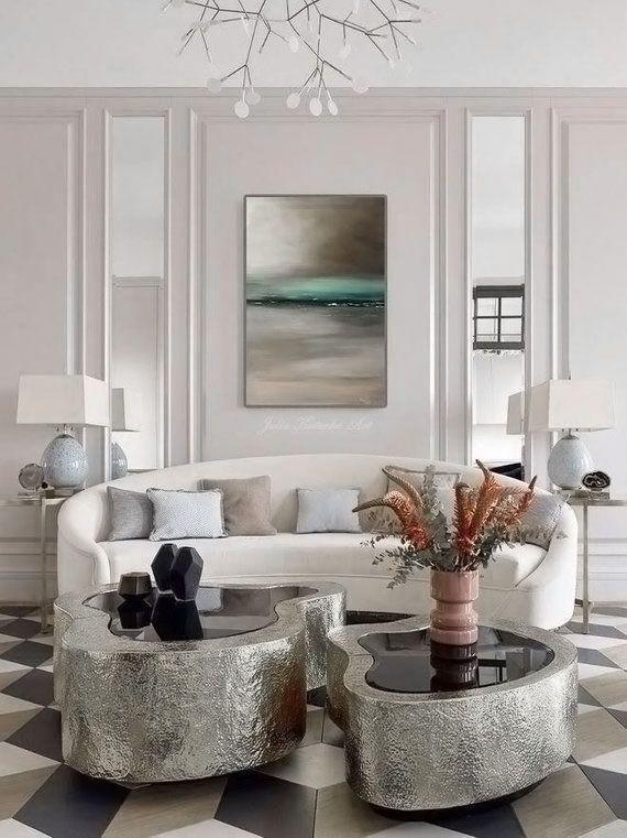 Beautiful Art Deco Style White Living Room Decor With Curved Sofa Luxury Living Room Decor White Living Room Elegant Living Room Decor