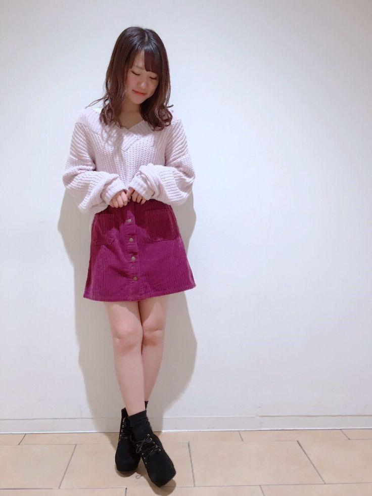 【池袋店】前釦コール天台形スカート♡