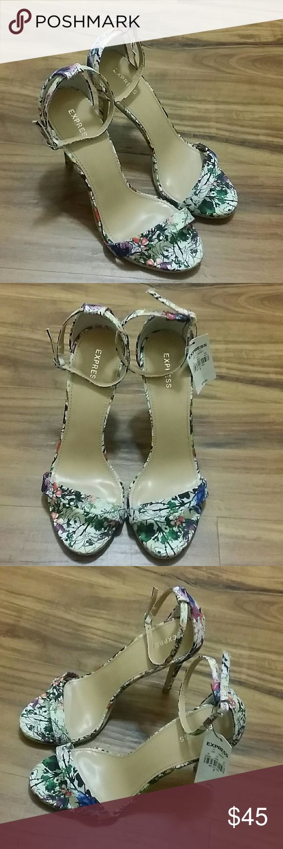 """Express strappy floral heels NWT- strappy floral heels from Express. Get ready for spring with these beautiful open toe ankle strap heels in a size 7.   4"""" stiletto heel. Adjustable ankle straps. Express Shoes Heels"""