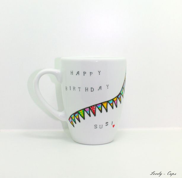 Geburtstagsgeschenk Geschenkidee: Happy Birthday Tasse mit Wunschnamen ♥Wimpel-Tasse♥ von Lovely-Cups auf DaWanda.com