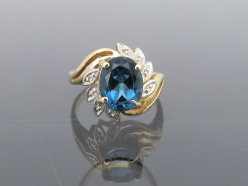 Vintage-14K-Solid-Yellow-Gold-2-58ct-London-Blue-Topaz-amp-Diamond-Ring-Size-7-5
