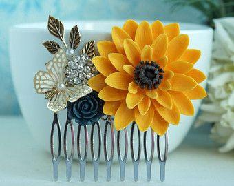 Sunflower Comb Sunflower Wedding Sun Flower Hair Clip