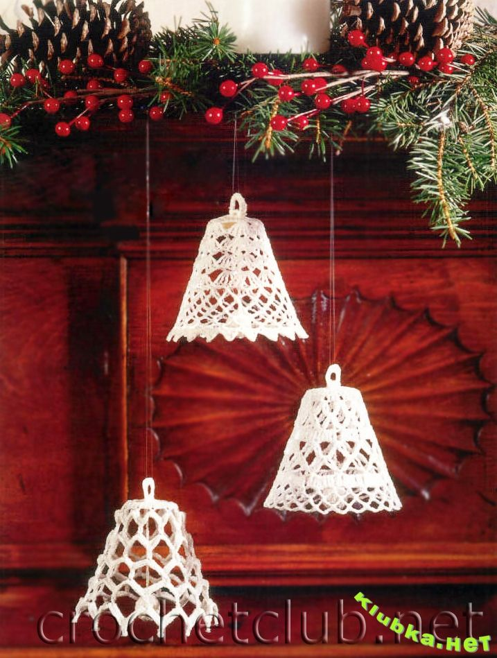 Crochet angels, bells and snowflakes