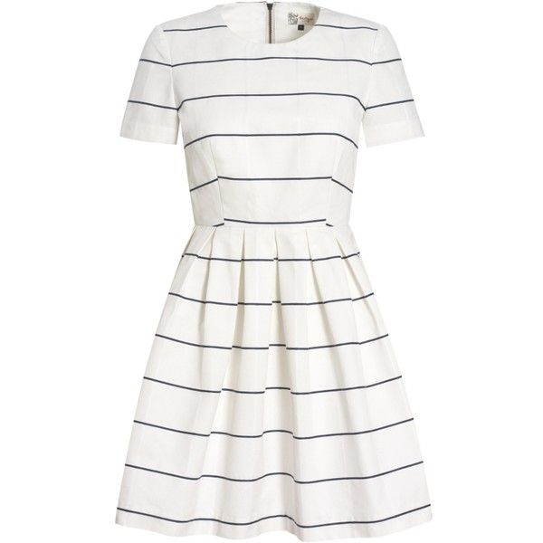 Buy Boutique by Jaeger Stripe Prom Dress, White online at... ($180) ❤ liked on Polyvore featuring dresses, white color dress, stripe dresses, white dress, white day dress and prom dresses