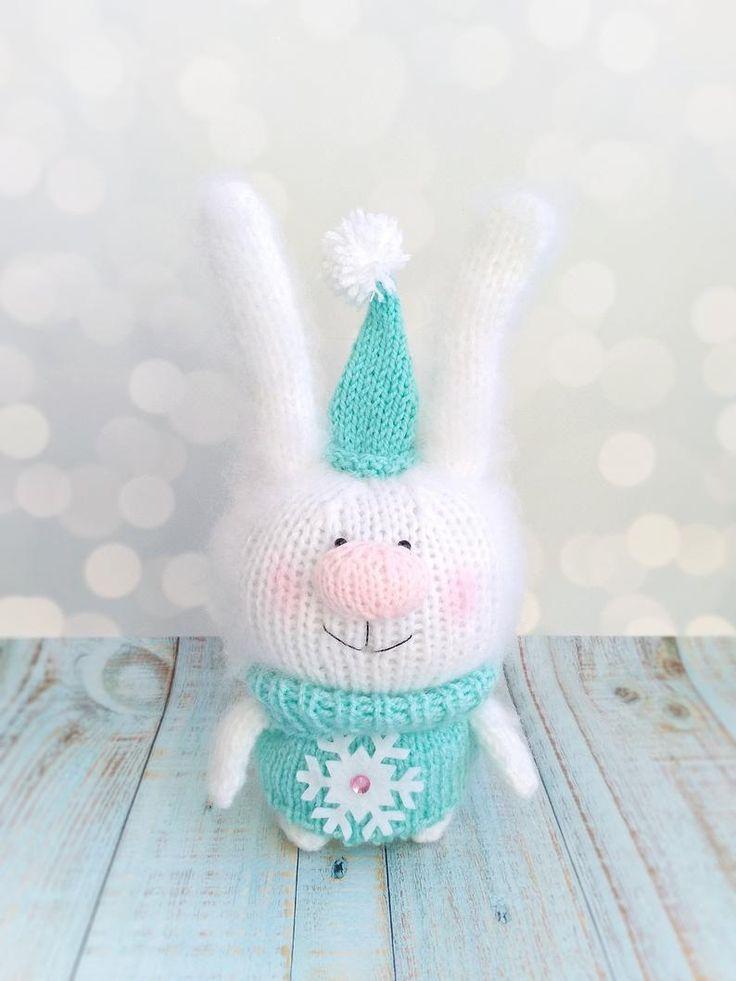 Fluffy white bunny toy Knitted bunny Amigurumi Rabbit Softy Doll bunny Christmas toys Miniature plush bunny crochet toy Christmas decor