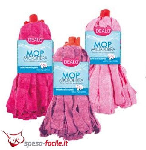 DEALO MOP MICRIFIBRA PIU' Mop Microfibra Pavimenti, per coloro che amano la praticità. Super assorbente. Grazie alle centinaia di frange in microfibra, pulisce in profondità rimuovendo lo spo...