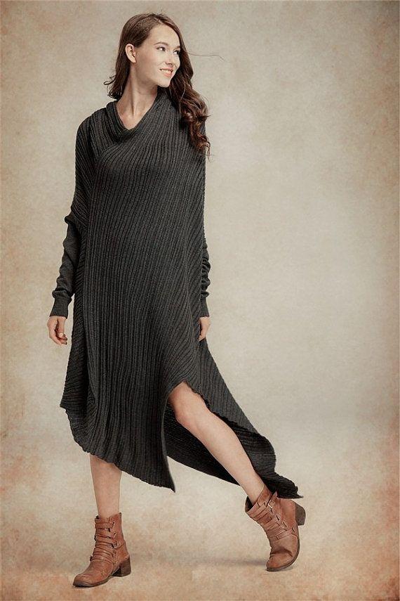 Wool Sweater Dress in Winter / Long Dress in black / Tunic Dress / Asymmetrical maxi wool dress, sweater dress, oversized dress
