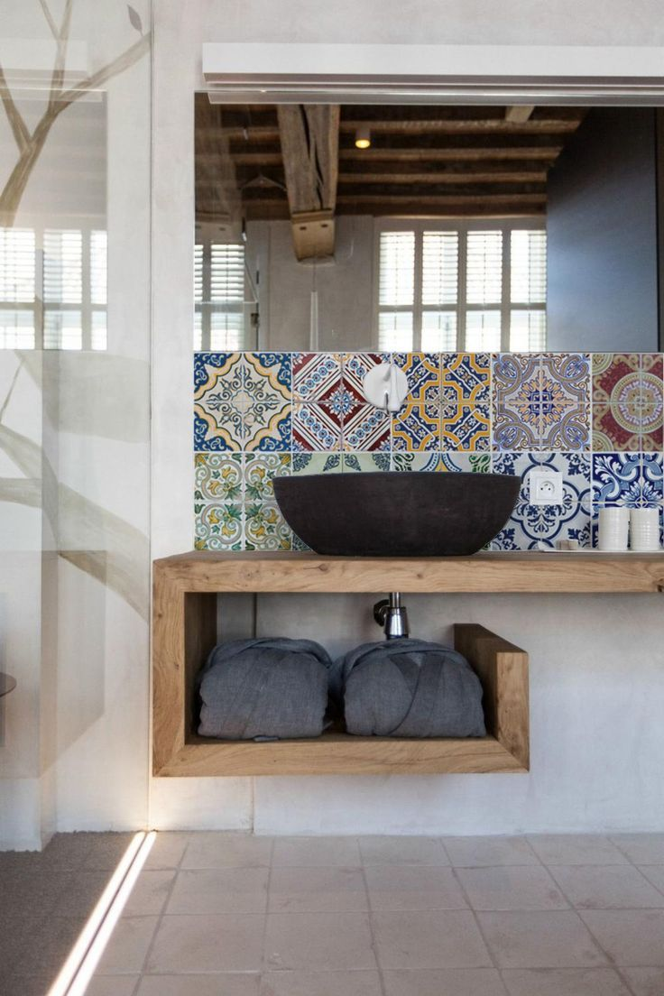 Open shelving/vanity unit, with patterned moroccan tiled splashback