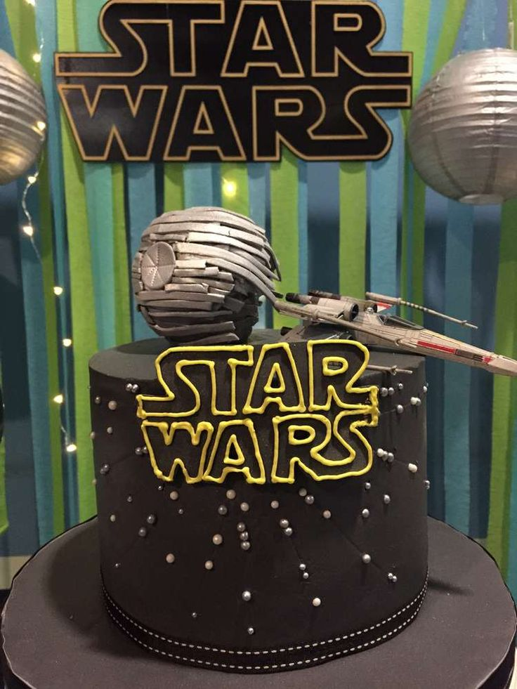 Cool cake at a Star Wars birthday party! See more party planning ideas at CatchMyParty.com!