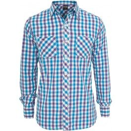 URBAN CLASSICS PURPLE WHITE TURQUOISE TRICOLOR BIG CHECKED SHIRT - Shirts - Menswear. Nice and bright summer colours. Roll up the sleeves for the perfect summer look!