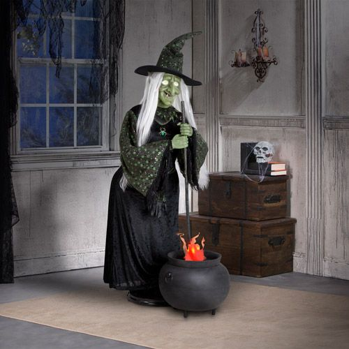 halloween decor tall life size animated halloween witch with flaming cauldron