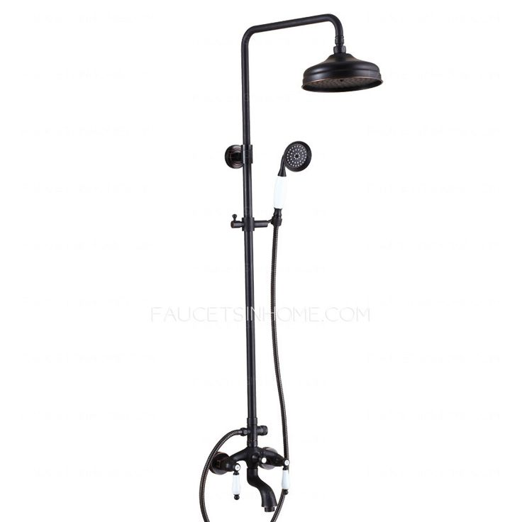 Outdoor Shower Head Part - 35: Antique Oil Rubbed Bronze Black Two Handle Outdoor Shower Faucets .