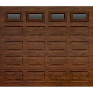 Martin Garage Doors, Wood Collection Riverstone 9 ft. x 7 ft. Short Panel Walnut Woodgrain Non-Insulated Full View Clear Windows Garage Door, HDIY-000581 at The Home Depot - Mobile