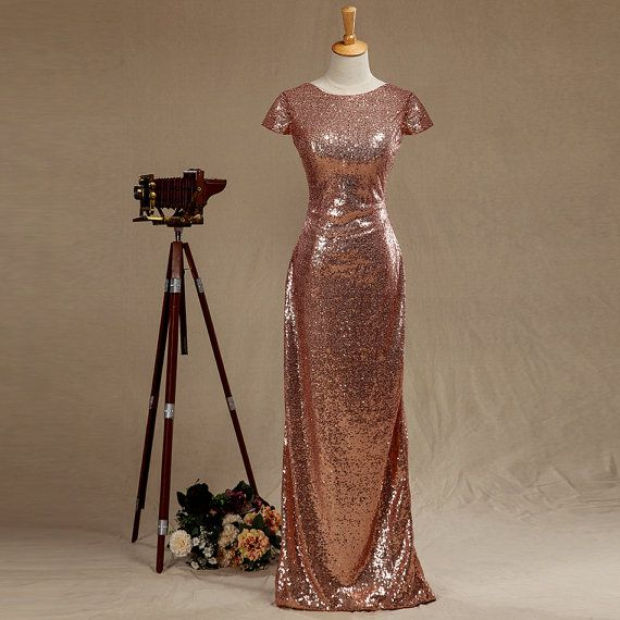 2016 Rose Gold Sequin Bridesmaid dress Cap Sleeves by harsuccthing