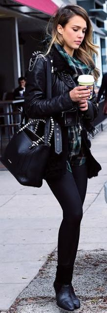 Just a pretty style   Latest fashion trends: Celebrity street style   Ankle boots, skinnies, tartan shirt and leather jacket
