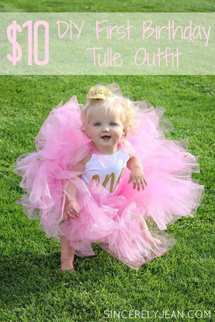DIY Girl First Birthday Tulle Onesie and Tutu Outfit | www.sincerelyjean.com