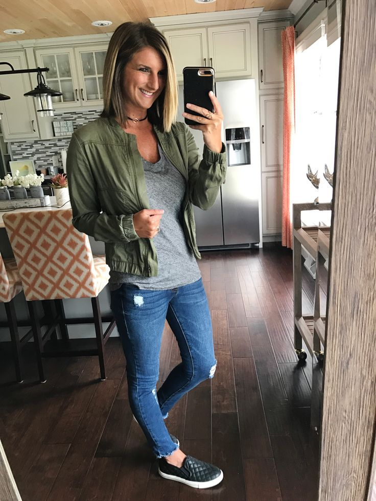 The perfect on the go outfit! Go to v-neck tee with bomber jacket, slip-ons and distressed jeans! Easy outfits are the best! Click on the photo for direct links to shop!