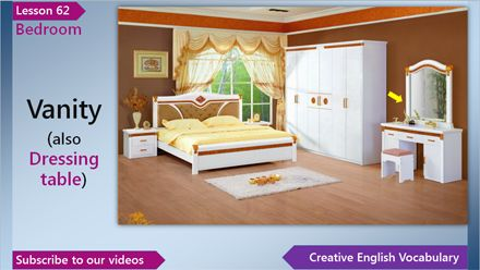 English Vocabulary Lesson 62 – Bedroom Vocabulary (English Vocabulary for a Bedroom)  	 In this English lesson you'll learn English words and phrases for a bedroom - night table, vanity, vanity table, four-poster bed, canopy, bedpost and headboard.