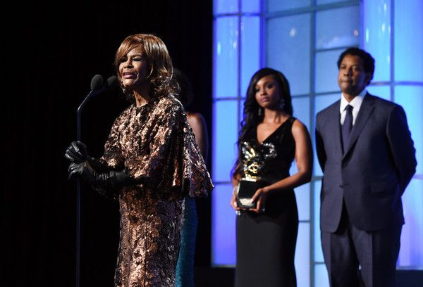 Honoree Denzel Washington (R) and actrrss Cicely Tyson speak onstage during BET Presents the American Black Film Festival Honors on February 17, 2017 in Beverly Hills, California. - BET Presents the American Black Film Festival Honors - Show