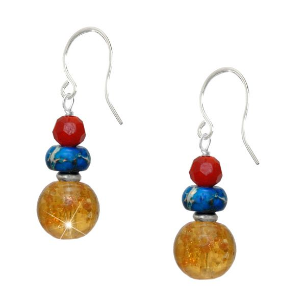 Paradox Gemstone Earrings - A glorious symphony of colour in red, blue and golden yellow. A radiant 10mm citrine gemstone is combined with a blue lace agate rondelle and a 6mm faceted ruby red crystal. A bold exotic design to brighten up your day.  A beautiful sterling silver design with hand forged ear hooks.