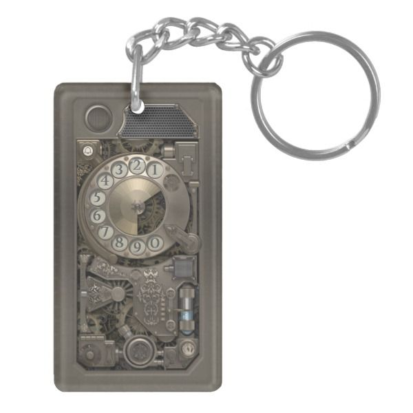 Steampunk Device - Rotary Dial Phone. Keychain -  Rectangular Keychain   This wonderful steampunk design will enhance your Keychain with a mechanical look. The design itself is fresh... #custom #Steampunk Themed  #gift #aif  keychain design by #VintageSty