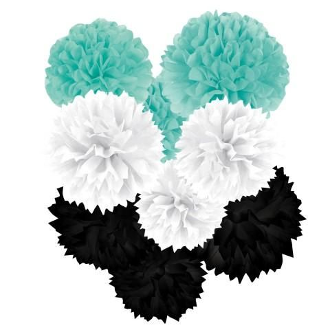 Tiffany and Co Party Ideas - Pom Pom Hanging Ball Decor