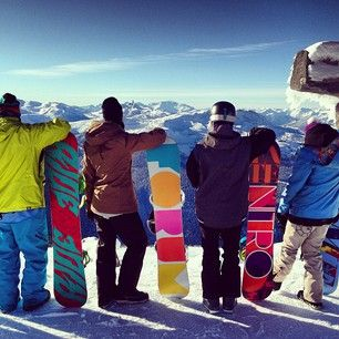 Ok fellow ski club kids, were taking a picture like this. One with boards, one with skis, and one with both.