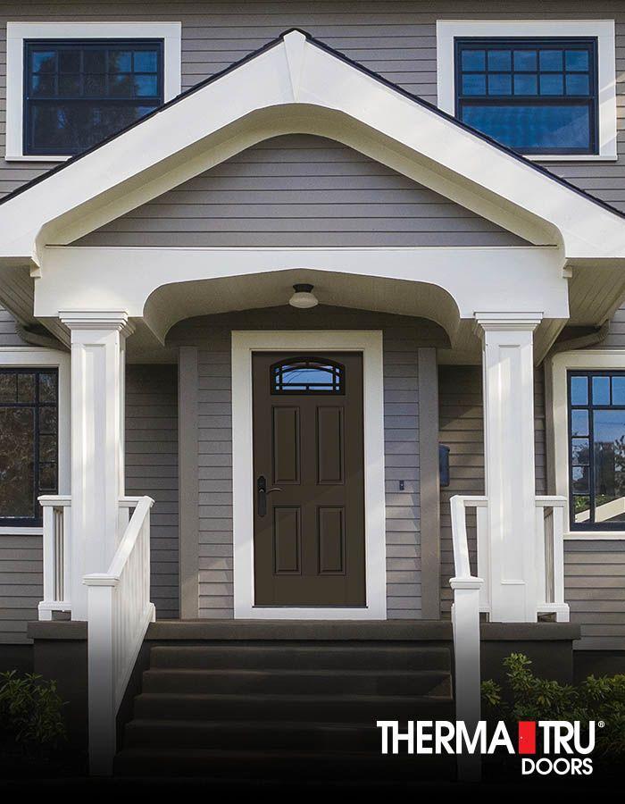 therma tru smooth star fiberglass door painted van dyke brown with. Black Bedroom Furniture Sets. Home Design Ideas
