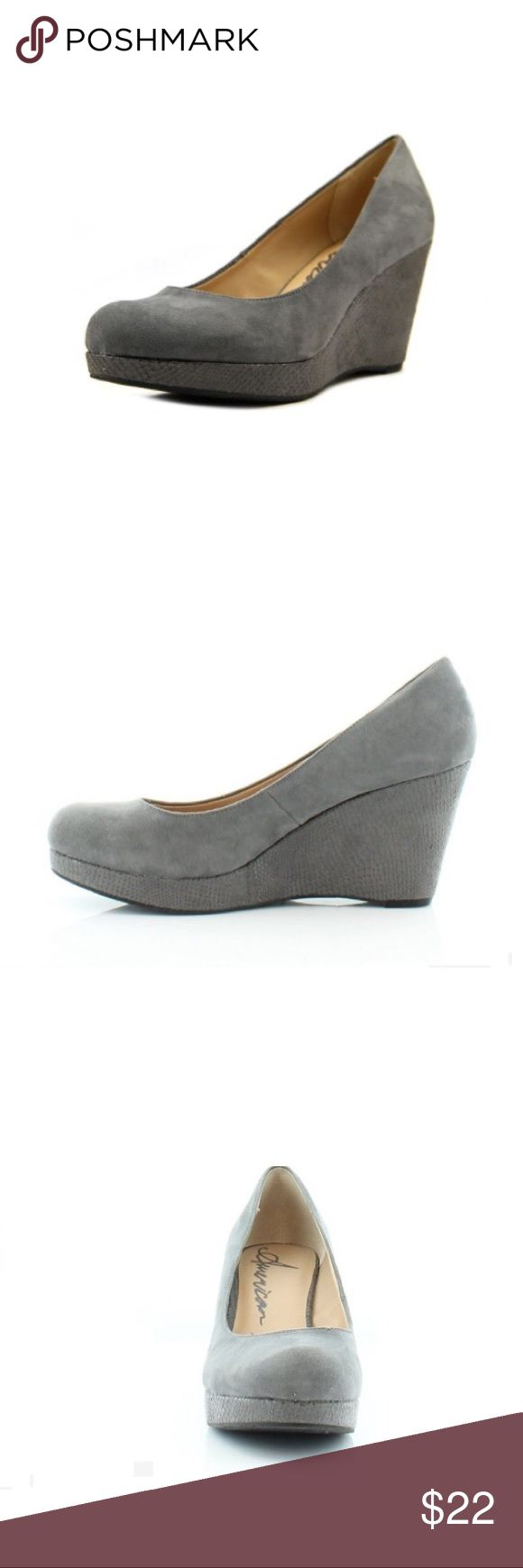 """American Rag gray wedges, like new American Rag gray faux suede wedges in original box. Negligible wear on soles, otherwise like new. 3 1/2"""" heel. Size 9 1/2. American Rag Shoes Wedges"""
