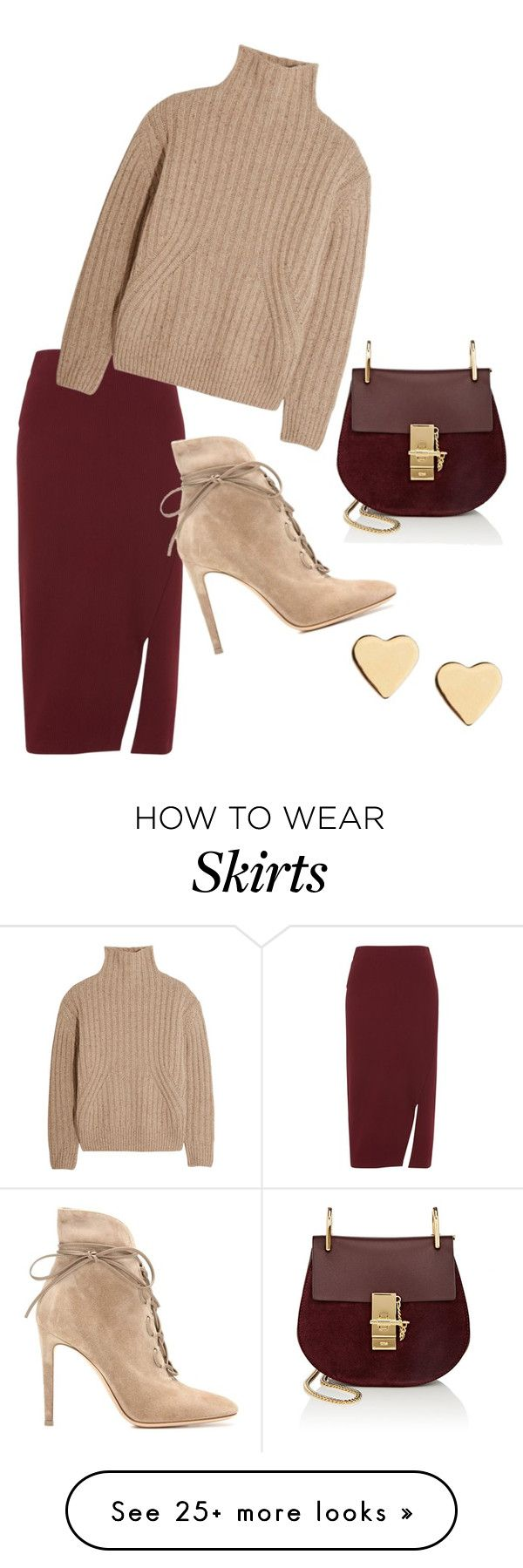 """""""Bordeaux skirt"""" by lenaek on Polyvore featuring Whistles, Totême, Gianvito Rossi, Chloé and Lipsy"""