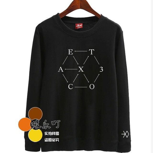 Kpop 2016 exo come back album ex'act printing o neck thin sweatshirts for spring autumn plus size fashion pullover hoodies