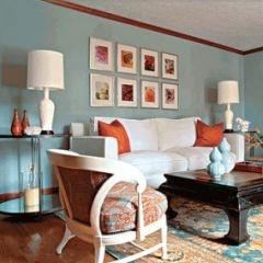 Robins Egg Blue Brown And Orange Living RoomsLiving Room