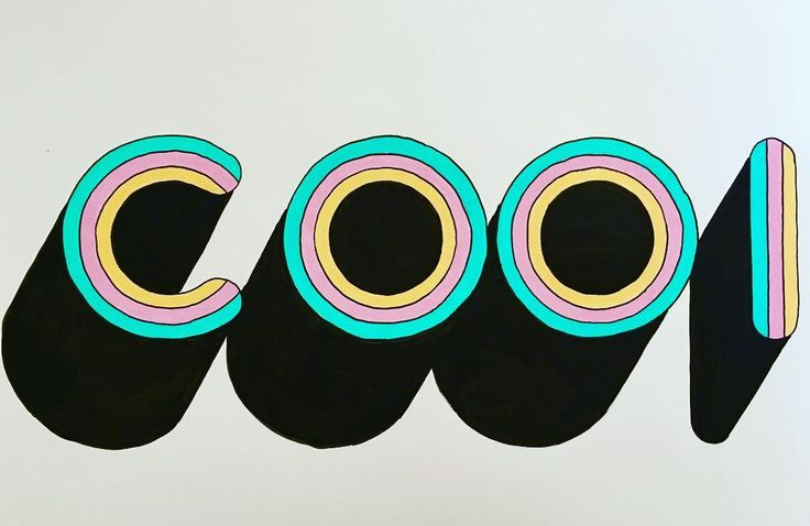 C O O L  #drawing #illustration #handmade #groovy #art #lettering #letter #artwork #posca #poscart #ポスカ #3d #colors #pastel #orange #green #purple #70s #black #minimal #alessiovitelli #2016