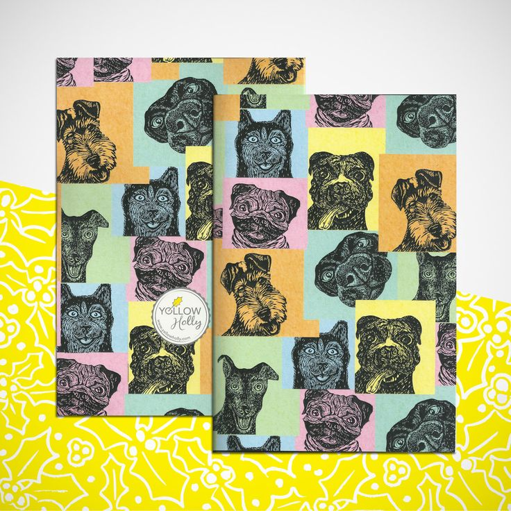 Dog print notebook. Gift. Plain notebook by YellowHolly on Etsy