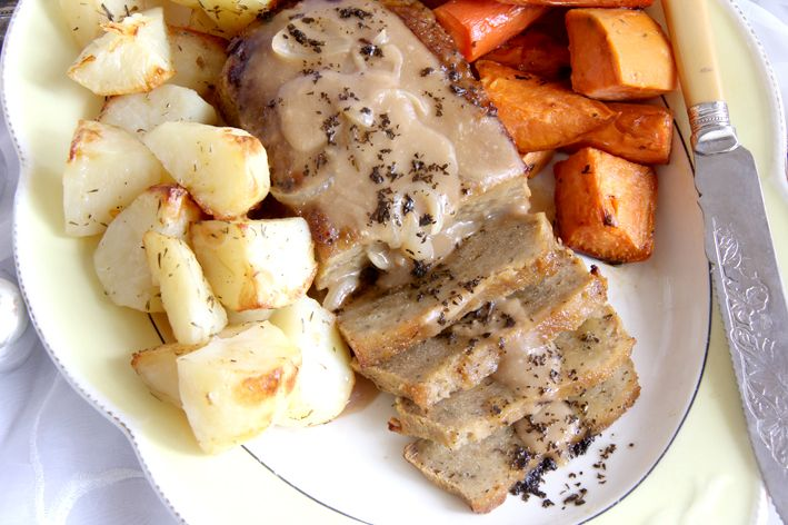 A traditional Christmas meal - vegan style! Seitan Roast with Mint Glaze.