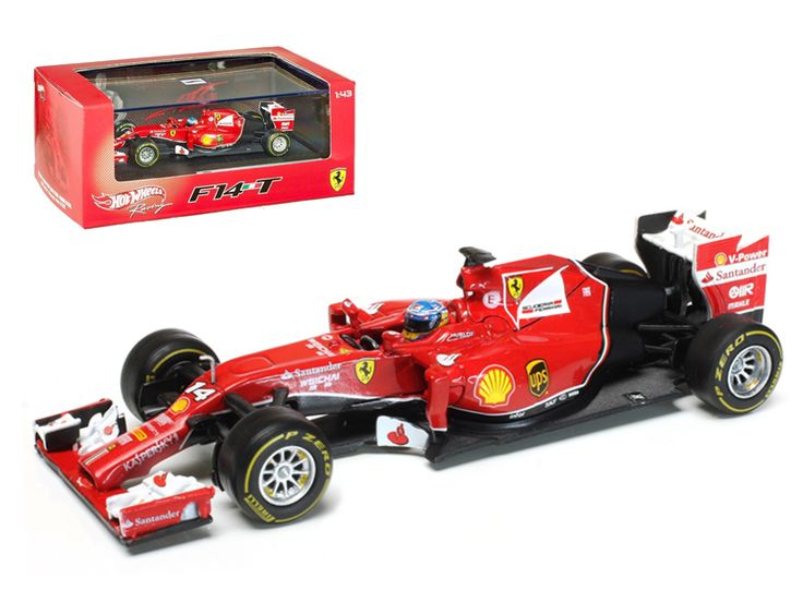 Hot wheels 2014 Ferrari F1 F14 T Formula 1 F2014 Fernando Alonso 1/43 Diecast Car Model by Hotwheels - Brand new 1:43 scale diecast car model of2014 Ferrari F1 F14 T Formula 1 F2014 Fernando Alonso die cast car model by Hotwheels. Rubber tires. Brand new box. Detailed interior, exterior. Comes in plastic display showcase. Dimensions approximately L-4 inches long.-Weight: 1. Height: 5. Width: 9. Box Weight: 1. Box Width: 9. Box Height: 5. Box Depth: 5