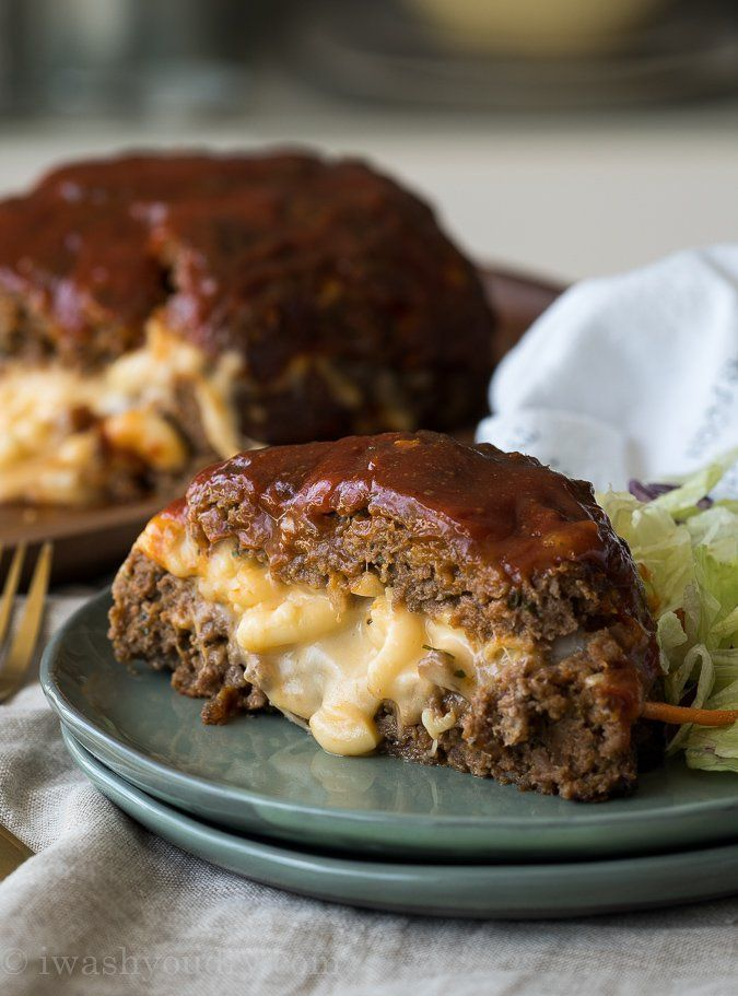 "<p>Combine two classic into one ultimate comfort food. Get this <a href=""http://www.iwashyoudry.com/macaroni-cheese-stuffed-meatloaf/"">Macaroni Cheese Stuffed Meatloaf</a> recipe!</p>"