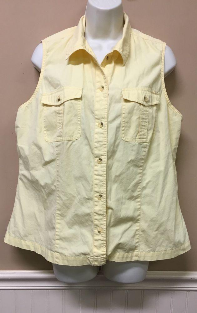 Columbia Sportswear Shirt Size 1X Button Up Sleeveless Yellow Tank Top   | eBay